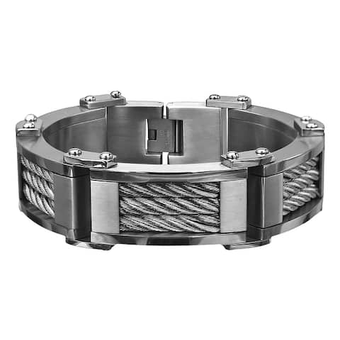Inox Mens Stainless Steel Three Cable Link Matte & Polish Finished Bracelet 8 3/4 inch long