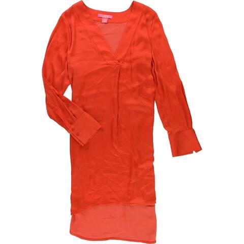 Catherine Malandrino Womens High-Low Tunic Blouse, orange, X-Large