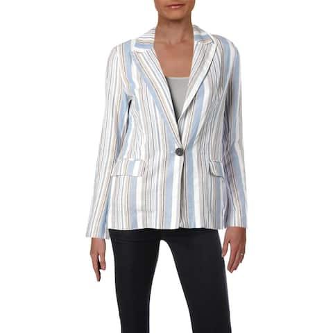 Aqua Womens One-Button Blazer Linen Blend Striped