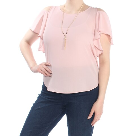BCX Womens Pink Ruffled Short Sleeve Jewel Neck Wear To Work Top Size: XL