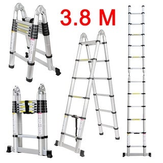 3.8M / 12.5Ft. Aluminum Folding Extension Ladder with Hinges, EN131 Certified, Heavy Duty 330Lbs