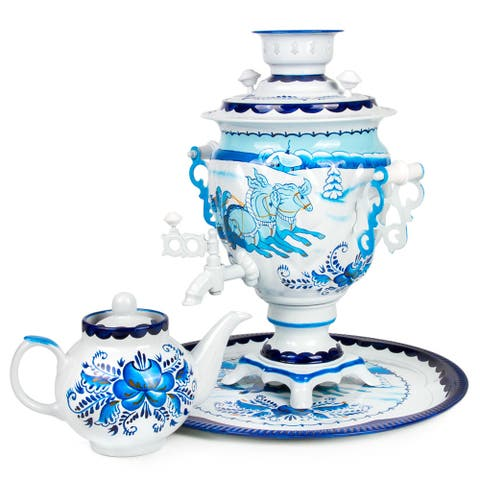 Gzhel Troika Hand-Painted Electric Russian Samovar Set w/ Tray & Teapot