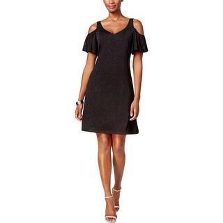 MSK Womens Cocktail Dress Cold Shoulder Glitter