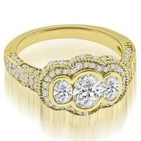 2.00 ct.tw Antique 14K Yellow Gold Antique Halo Three Stone Oval Diamond Engagement Ring HI, SI1-2