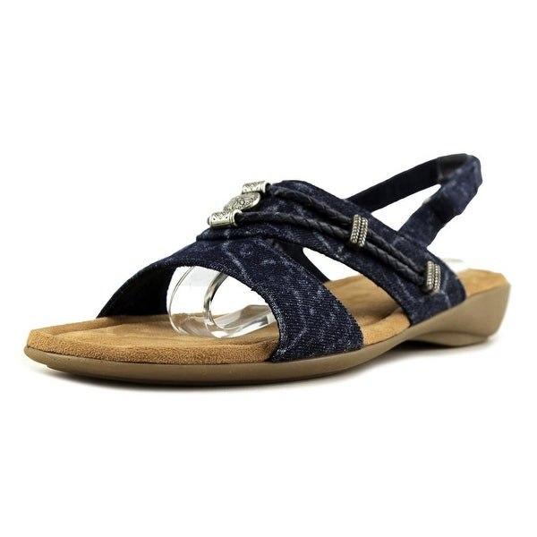 Minnetonka Silvie Women W Open-Toe Canvas Slingback Sandal