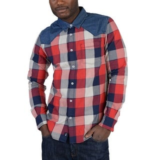 Adidas Mens Flannel and Denim Button Down Shirt Red - Red/Blue