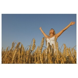 """Young woman in corn field"" Poster Print"