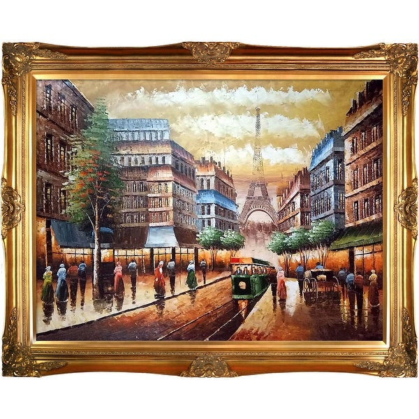 Buggy Ride Through Paris by Various Artists Framed Hand Painted Oil on Canvas