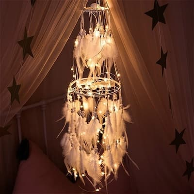 LED Light Dream Catcher Light String White Feather Night Light Home Party Decoration