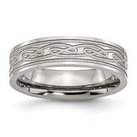 Stainless Steel Celtic Knot Flat 6mm Brushed and Polished Band