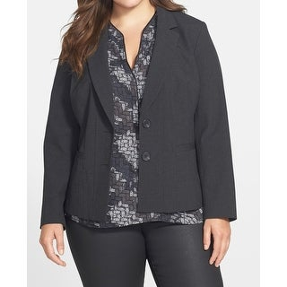 Sejour Black Womens Size 14W Plus Two Button Two-Pocket Jacket