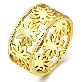 Floral Inprint Gold Laser Cut Ring