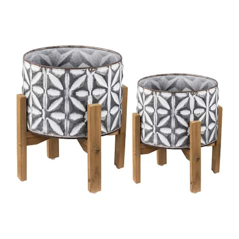 A&B Home Gray and White Round Planters on Stands (Set of 2)