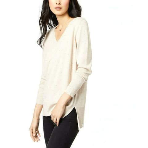 Maison Jules Women's Cotton V-neck Sweater Beig Heather 2 Size Extra Large - Beige - XXL