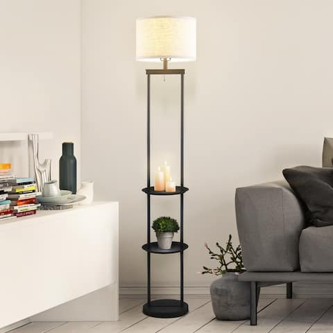Archiology 68-inch Floor Lamp Etagere Organizer with 3 Storage Shelves - White/Black