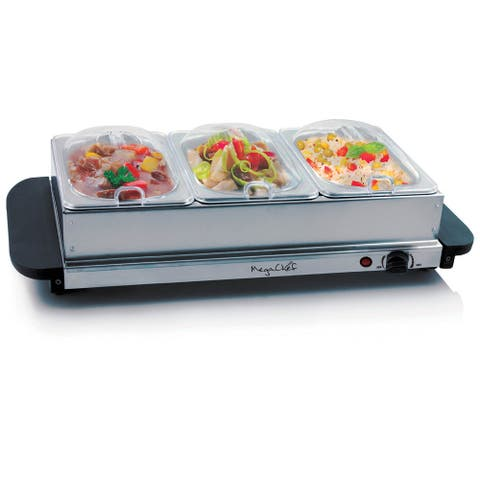 MegaChef Buffet Server & Food Warmer Tray Holder with Three Sections