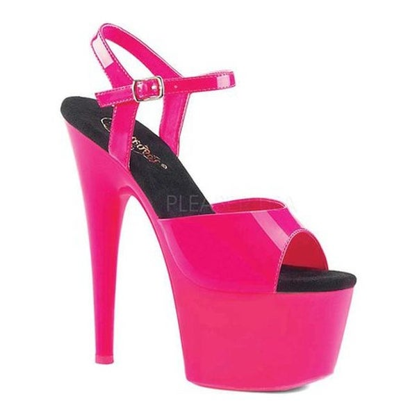 53a4305163 Shop Pleaser Women's Adore 709UV Ankle Strap Sandal Neon Hot Pink Pat/Neon  Hot Pink - Free Shipping Today - Overstock - 19509772