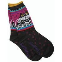 Polka Dot Cats - Black - Laurel Burch Socks