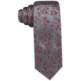 Ryan Seacrest Gray Silver Brookhurst Vine Slim Men's Neck Tie Silk 345