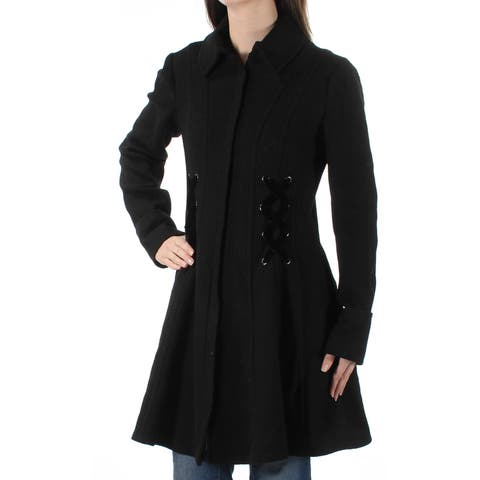 NANETTE LEPORE Womens Black Trench Coat Size: 2XS
