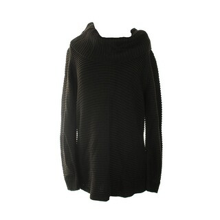 Calvin Klein Black Ribbed Cowl-Neck Sweater L