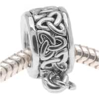 Silver Tone Celtic Knot Trinity Band Bead - Charm Bail With Loop - European Style Large Hole