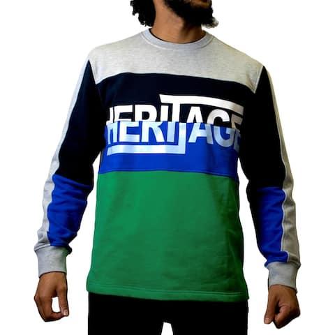 Heritage America Mens Crew Sweatshirt French Terry Colorblock - Gray/Navy/Green