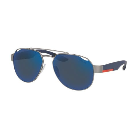Prada Linea Rossa PS 57US DG1387 59 Gunmetal Rubber Man Irregular Sunglasses