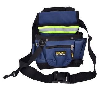 Unique Bargains Reflective Stripes Design Waterproof Black Blue Electrician Tool Waist Bag