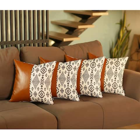 """Decorative Faux Leather Square 17"""" Throw Pillow Cover (Set of 4)"""