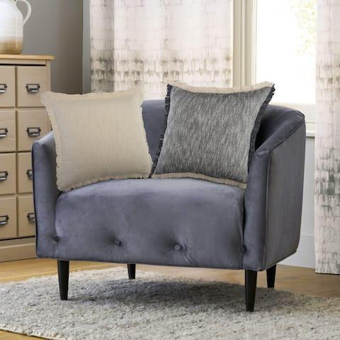 Two-Tone Fringe Woven Throw Pillow