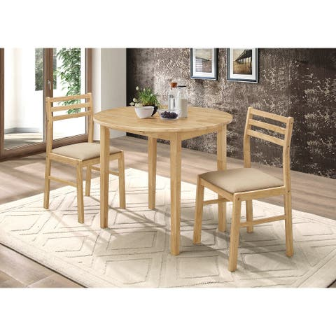 Carbon Loft Talbot Natural 3-piece Dining Set with Drop Leaf and Upholstered Chairs