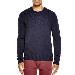 Bloomingdales Mens 2-Ply Cashmere Diamond Pattern Sweater Medium M True Navy