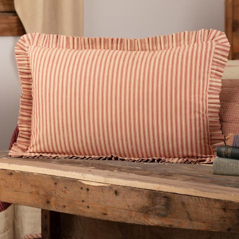 Rory Schoolhouse Red Ticking Stripe Fabric Pillow 14x22