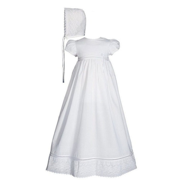 Baby Girls White Cotton Lace Short Sleeve Hat Christening Gown