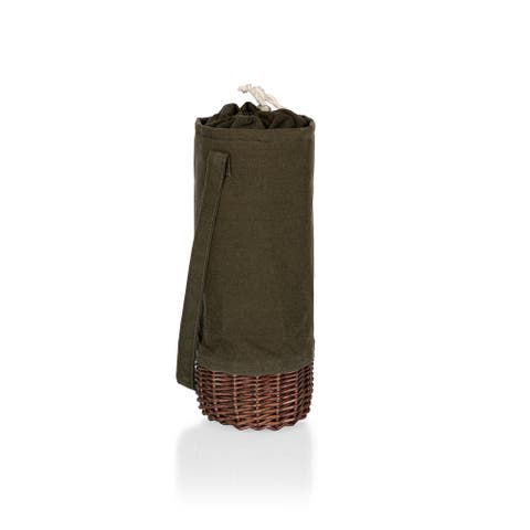 PICNIC TIME Malbec Insulated Canvas and Willow Wine Bottle Basket, (Khaki Green with Beige Accents) - 5.25 x 5.25 x 13