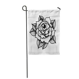 Overstockold School Rose Tattoo Eye Traditional Black Dot Ink Flowers Garden Flag Decorative Flag House Banner 12x18 Inch All Seasons Dailymail