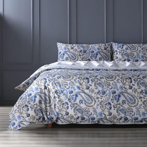 Exclusive Fabrics Cheshire Blue Cotton Percale Printed Reversible Duvet Cover Set