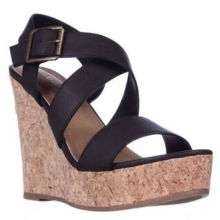 Rampage Happy Cork Wedge Platform Sandals - Black Burnished