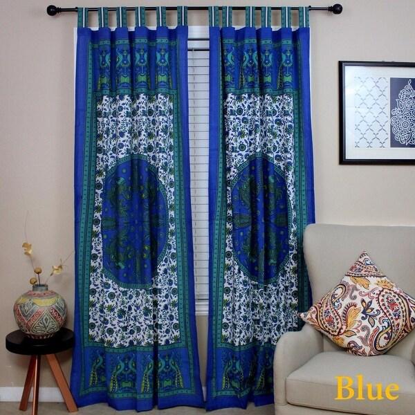 Shop Handmade 100 Cotton Peacock Tab Top Curtain Door Panel Drape