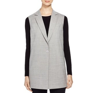 DKNY NEW Gray Women's Size Medium M Vest Wool Notched Solid Jacket