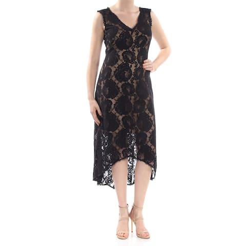 3305fbf4edcc0 TADASHI SHOJI Womens Black Embroidered Lace Sleeveless V Neck Midi Hi-Lo  Cocktail Dress Size