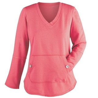 Women's Light French Terry Cover-Up Shirt - Front Pouch Pocket