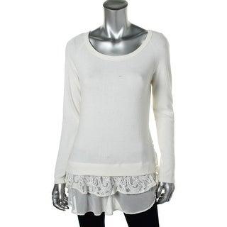 Karen Kane Womens Lace Trim Boatneck Pullover Top - XS