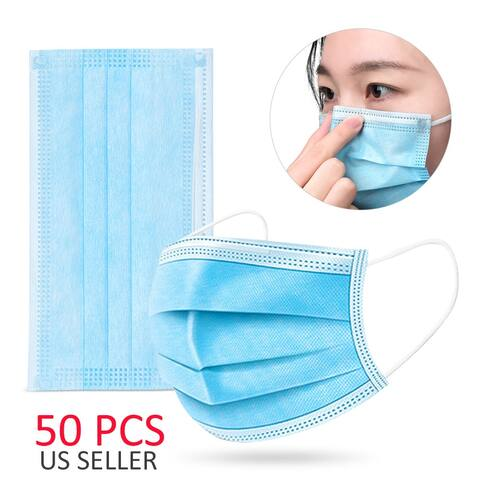 Single Use Disposable 3-Ply Surgical Face Mask Mouth Cover, Unisex (50pcs, Blue)