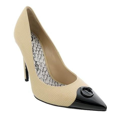 Roberto Cavalli Class Beige/Black Leather Classic High Heel Pump Shoes-