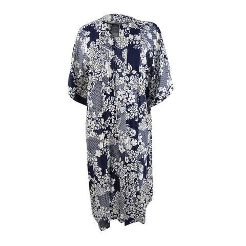 Vince Camuto Women's Cotton Printed Kimono Swim Top Cover-Up - Deep Sea