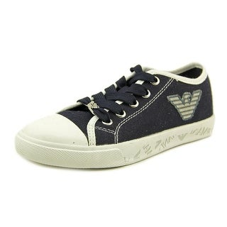 Armani Junior R3514 Youth EW Round Toe Canvas Blue Sneakers