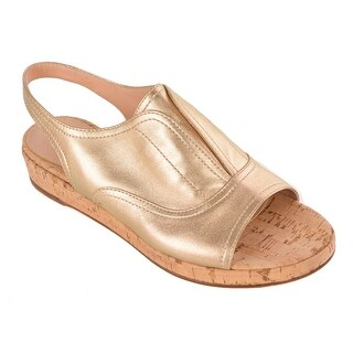 Gianvito Rossi Women's Gold Leather Low Wedge Open Toe Sandals