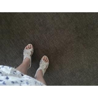Delicacy Womens Angel-37A Open Toe Med Heel Wedding Dress Sandal Shoes - Silver
